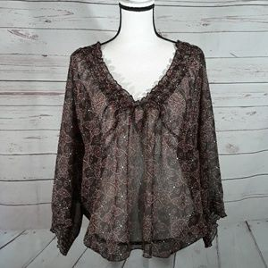 Sheer 3/4 sleeve Lane Bryant top